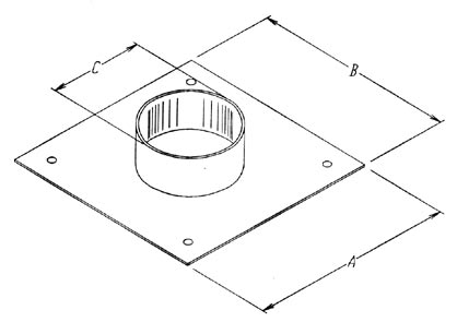 Plate with collar hood exit d. 200 mm